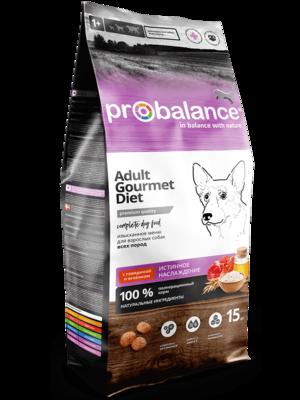 ProBalance корм сух.д/соб 15кг говяд/ягненок Gourmet diet Adult