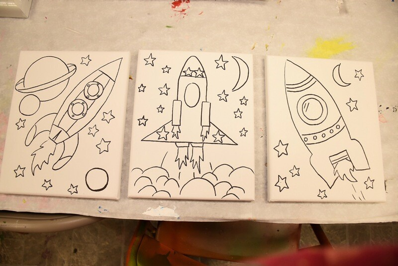 Rocker and Planet - pre-traced canvas