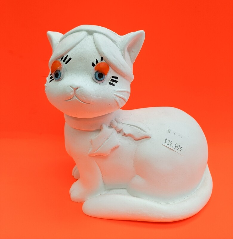 Funny Cat Plaster Figurine to paint for kids Art Craft