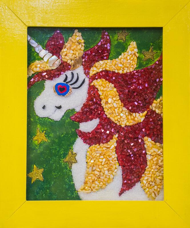 DIY Mosaic Wall Art Painting with crystal.