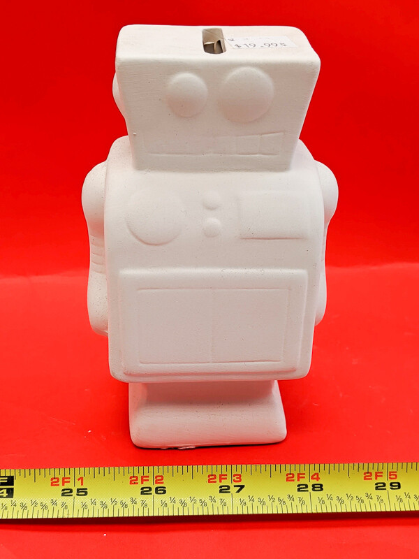 Robot to paint your own DIY plaster figurine Art Craft activity with Paint and brushes.