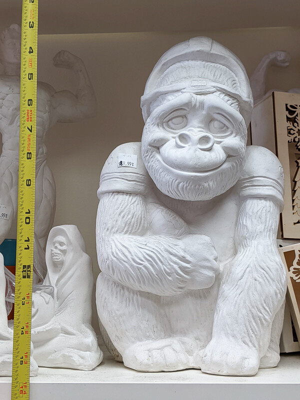Huge Monkey Football Player figurine to paint. Paint your own DIY plaster figurine Art Craft activity.