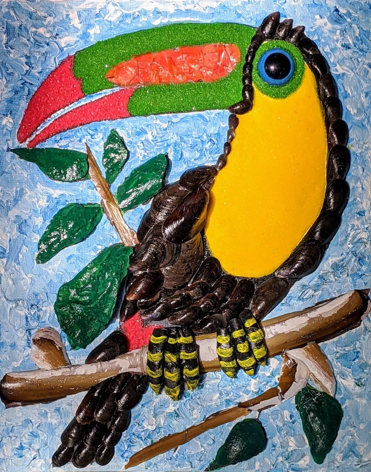 """DIY Mosaic Wall Art Painting with crystal. """"Toucan"""" - sparkling mosaic, painting for the fun time kids and adult together"""