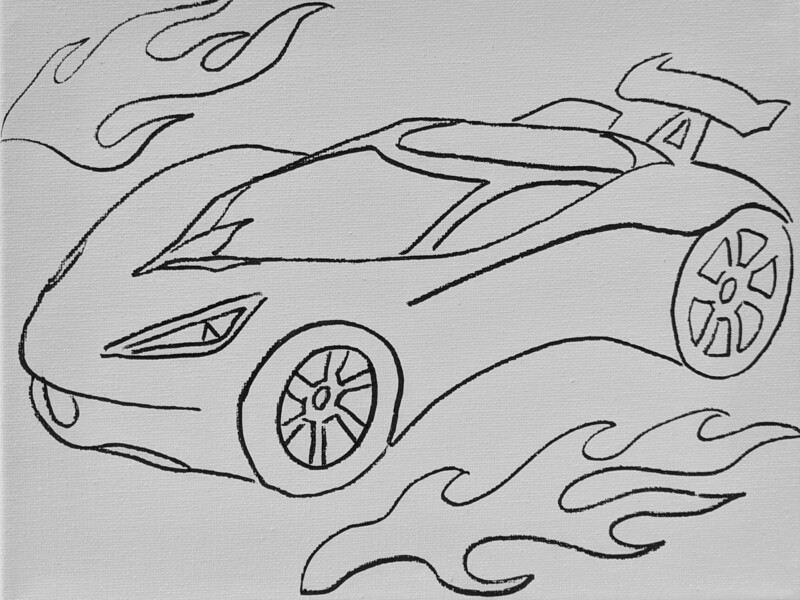 Sports Racing Car pre-traced canvas