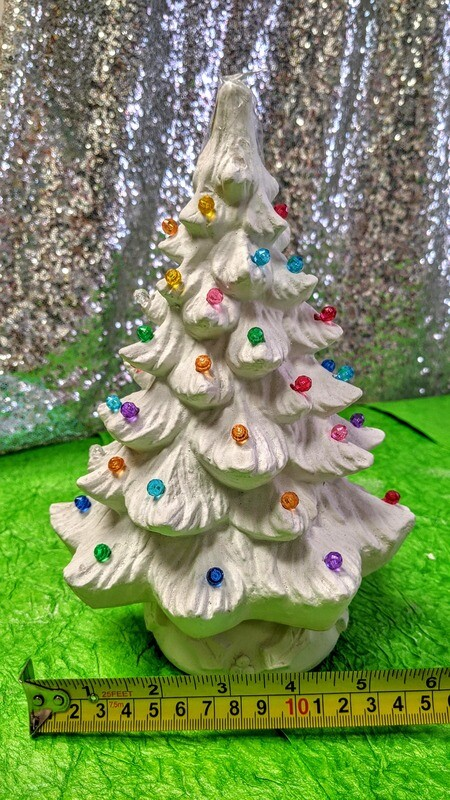 Christmas Tree with Lights Statue with paints and brushes. Light up Kit included. Paint your own DIY plaster figurine Art Craft activity