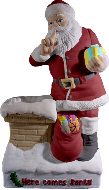 Here Comes Santa Christmas Santa Clause Statue with paints and brushes. Paint your own DIY plaster figurine Art Craft activity.