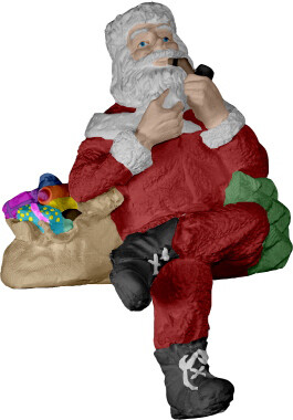 Shelf Sitting  Santa Clause Christmas Statue with paints and brushes. Paint your own DIY plaster figurine Art Craft activity.