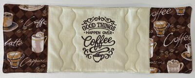 Good Things Happen Over Coffee Mug Rug