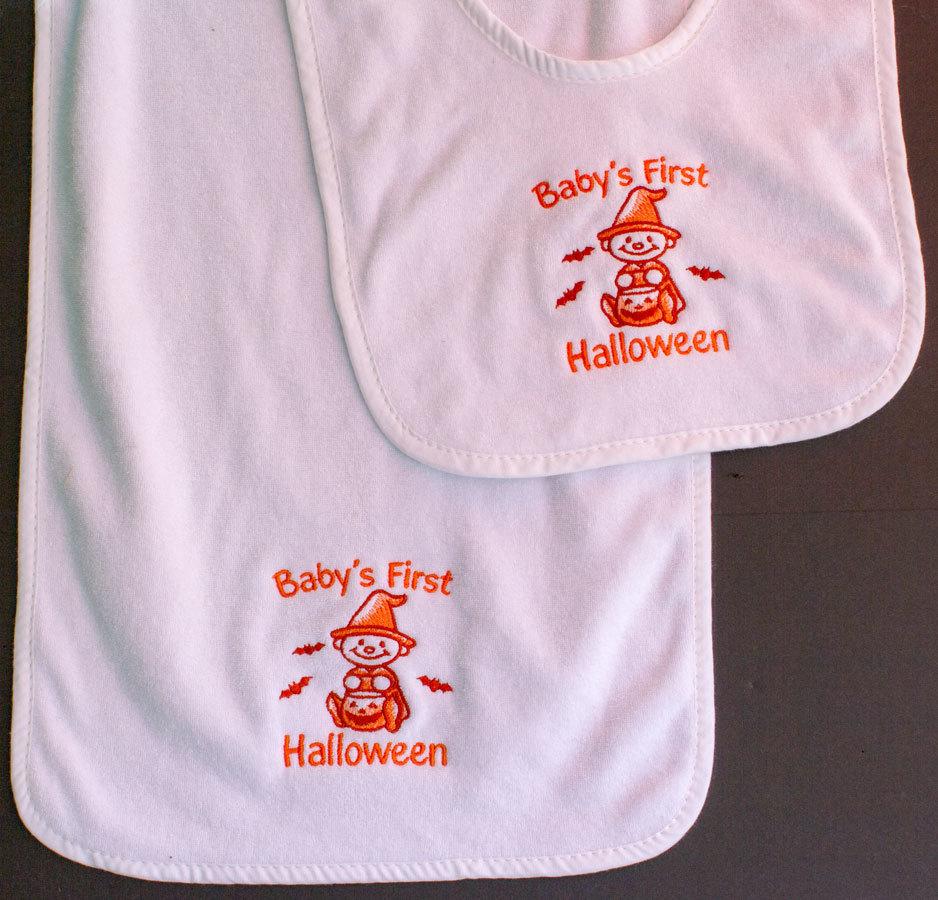 Baby's First Halloween Bib and Burp Cloth Set