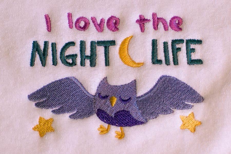 I Love The Night Life Baby Burp Cloth