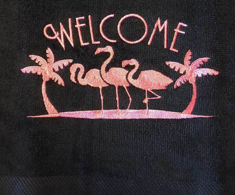Pink Flamingo With Welcome On Black Towel