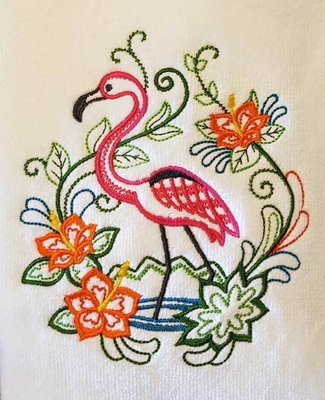 Flamingo and Floral Towel