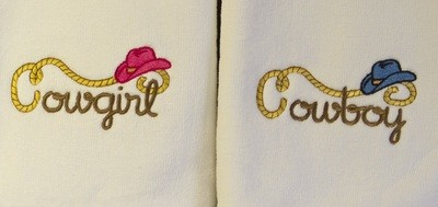 Western style His & Hers Hand Towel Set