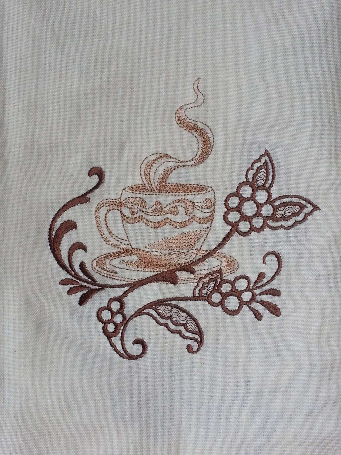 Kitchen Towel With Smoking Cup of Coffee