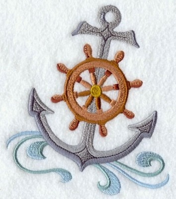 Bath Towel With Anchor and Ships Wheel