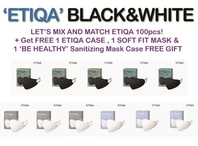 #1 KOREAN KF94 MASK! ETIQA KF94 SPECIAL SALE MIX&MATCH!! (BLACK&WHITE) (100pcs+1 ETIQA MASK CASE FREE GIFT+1 ETIQA SOFT FIT MASK FREE GIFT+1 Sanitizing Mask Case)- 에티카 보건용 마스크 블랙&화이트 스페셜 믹스앤매치!