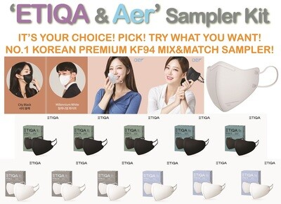 ETIQA or AER? #1 KOREAN KF94 MASK! ETIQA KF94 & AER KF94 10pcs MIX&MATCH SAMPLER KIT!