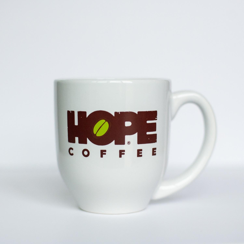 HOPE Coffee 16 oz White Ceramic Mug