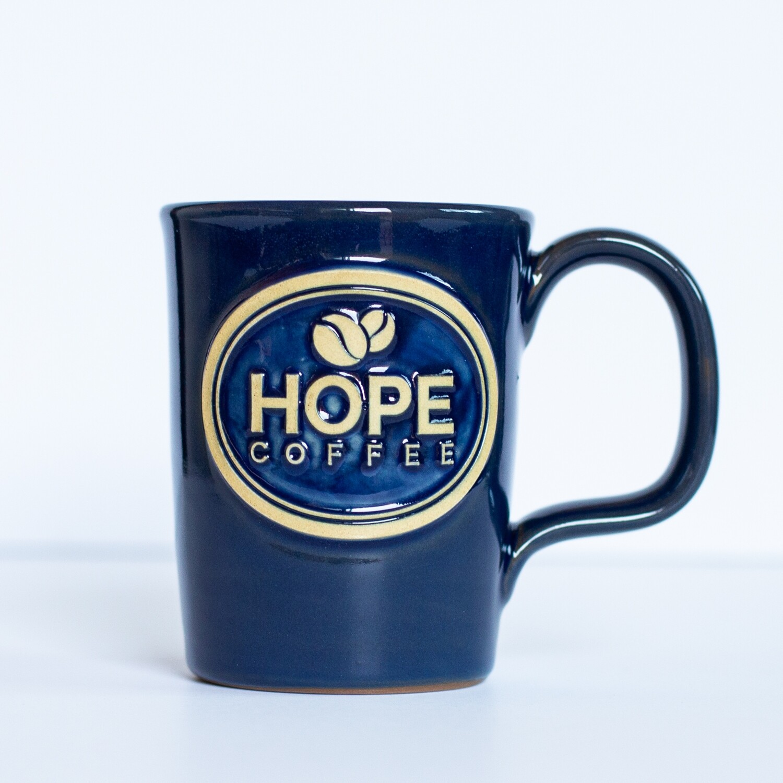 HOPE Coffee 10 oz Handcrafted Stoneware Mug - Abby Style Heritage Blue Glaze