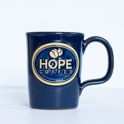 HOPE Coffee 10 oz Handcrafted Stoneware Mug - Abby Style Heritage Blue Glaze