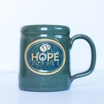 HOPE Coffee 14 oz Handcrafted Stoneware Mug - Camper Style Sage Glaze