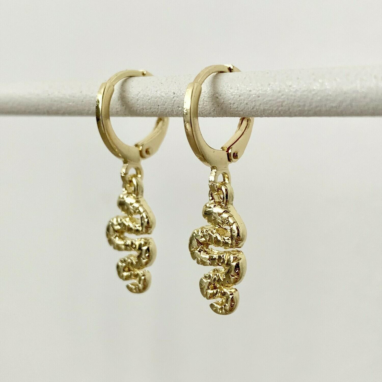 Snake oorbellen goud