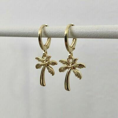Palmboom oorbellen goud