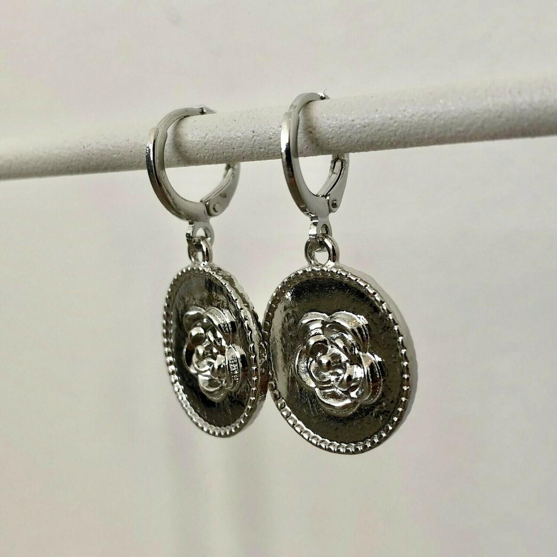 Rose coin oorbellen kleur: zilver
