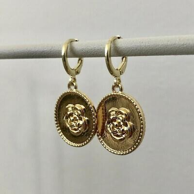 Rose coin oorbellen goud
