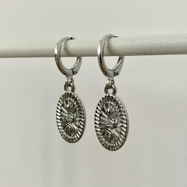 Snake coin oorbellen zilver