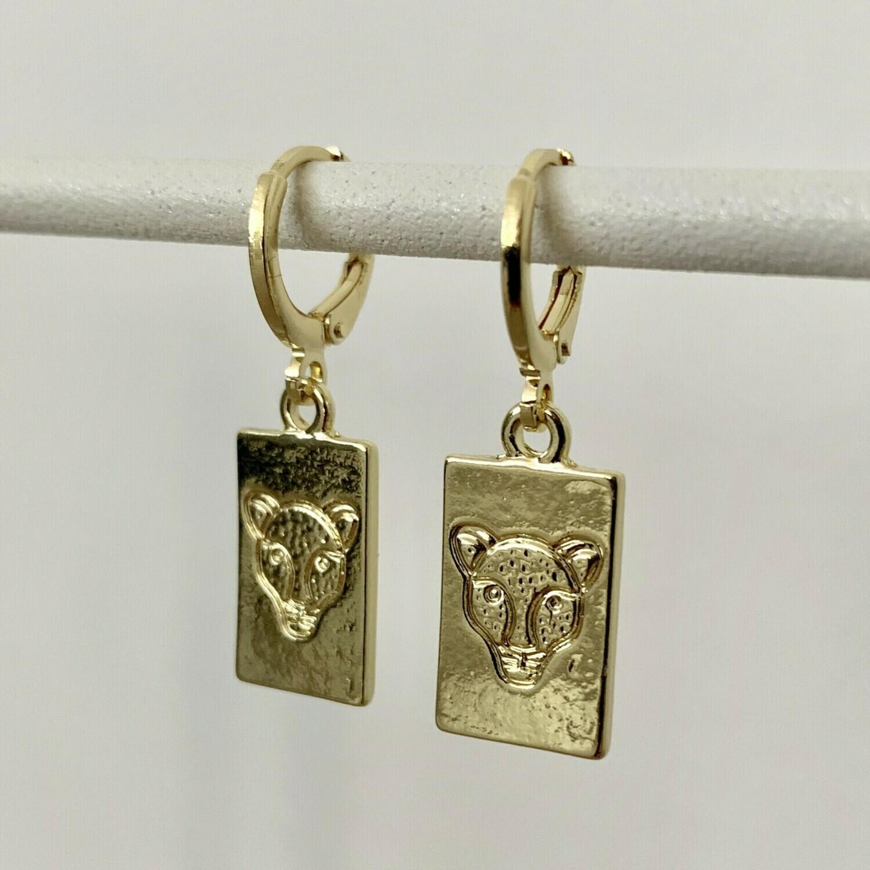 Panter plaat oorbellen goud
