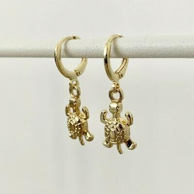 Schildpad oorbellen goud