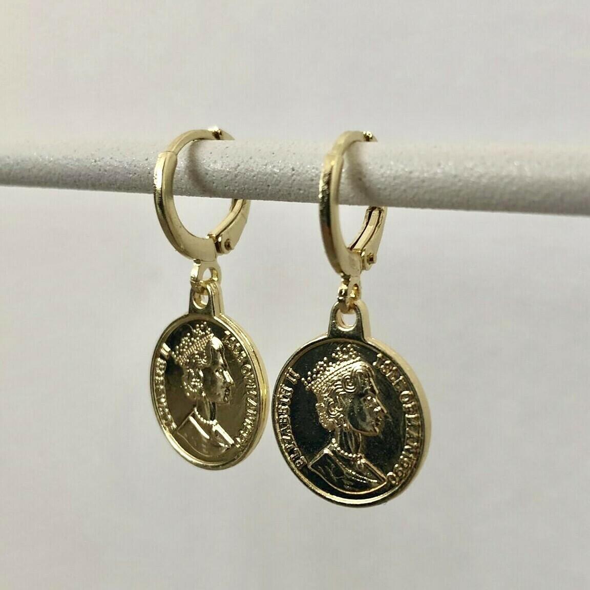 Coin oorbellen goud