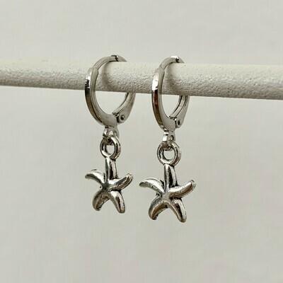 Zeester oorbellen zilver