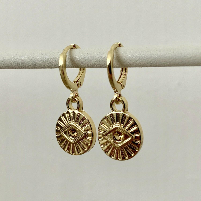 Mini eye coin oorbellen goud