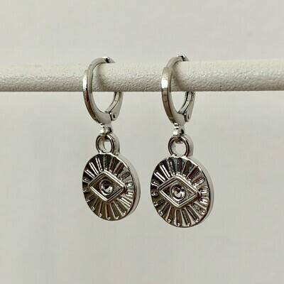 Mini eye coin oorbellen zilver
