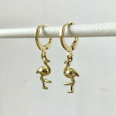 Flamingo oorbellen goud
