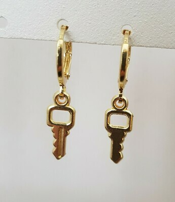 Mini key oorbellen goud