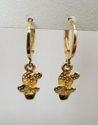 Mini cactus oorbellen goud