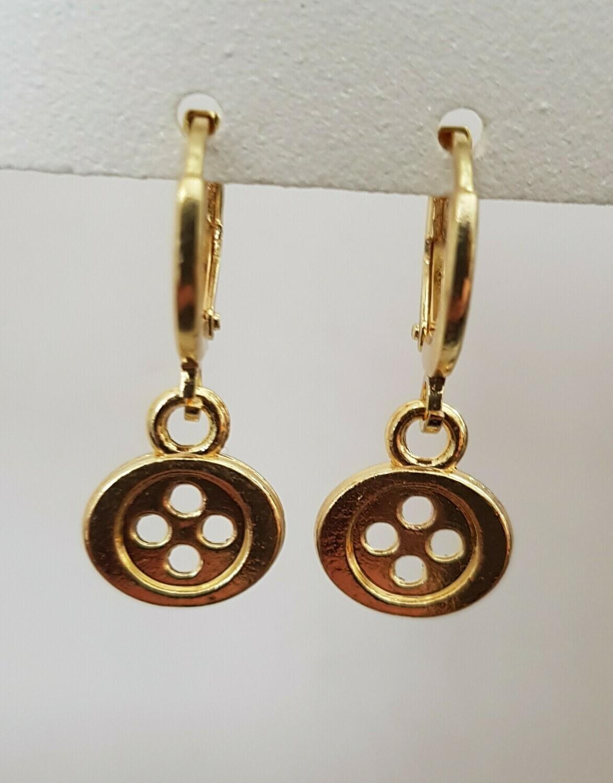 Mini button oorbellen goud
