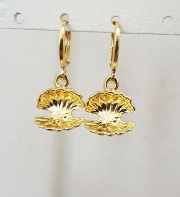 Open shell oorbellen goud