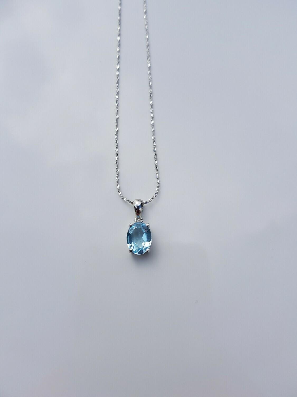 Blauw Topazs halsketting 925 sterling zilver