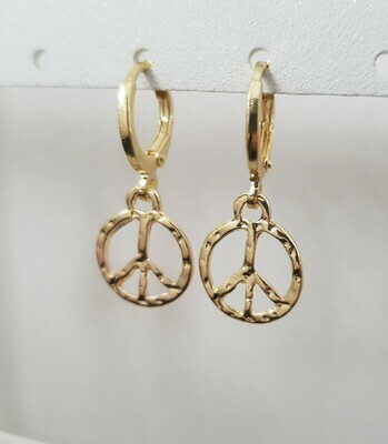 Peace sign oorbellen goud