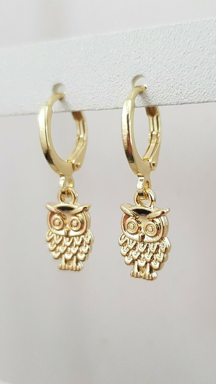 Mini uil oorbellen goud