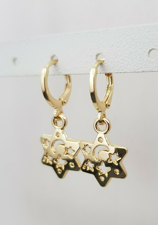 Ster en maan oorbellen goud