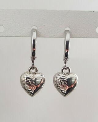 Mini 3D heart oorbellen zilver