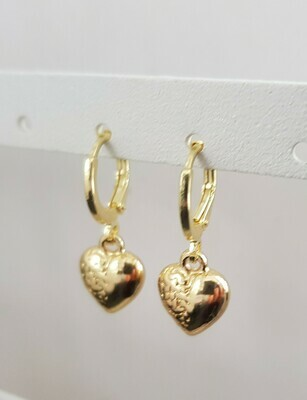 Mini 3D heart oorbellen goud