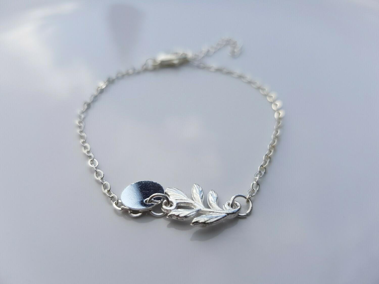 Leaf armband zilver