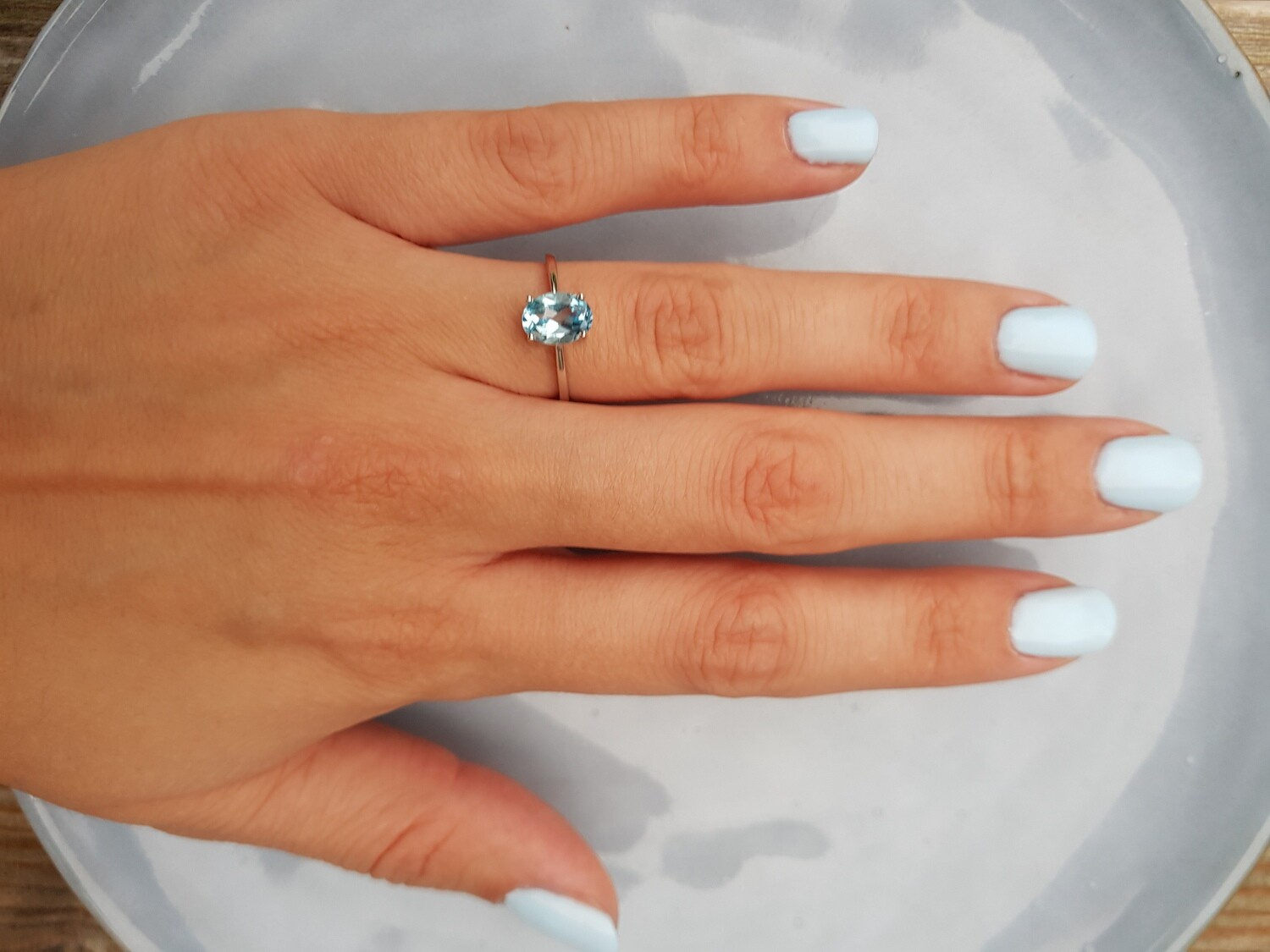 Blauw topazs ring 925 sterling zilver