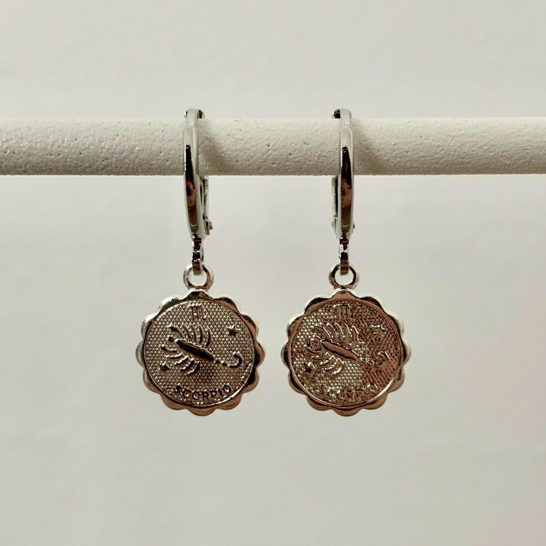 Sterrenbeeld oorbellen Schorpioen zilver
